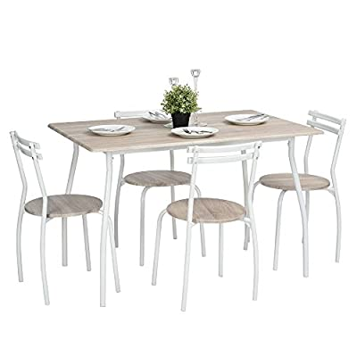 Lillyarn 5Pcs Dining Set Breakfast Table and Chairs Set Metal Dinette Set Kitchen Furniture for 4 Person - Stylish, Modern & Elegant 5-Piece dining set, includes rectangular table with rounded corners, 4 round chairs with comfortable curved backrest. Practical and space-saving, perfect for small apartment, kitchen, dining room, breakfast nook or other limited spaces. High quality MDF With Wooden-Texture. Easy to clean. Powder-coated metal structure with smooth curved legs. Sturdy and endurable. - kitchen-dining-room-furniture, kitchen-dining-room, dining-sets - 418VZsGaYmL. SS400  -