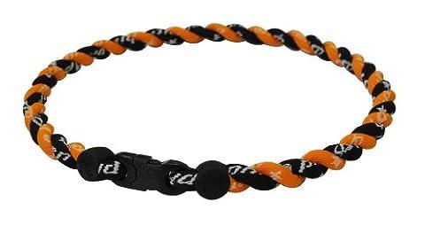 Phiten Tornado Titanium Necklace, Black/Orange, 22