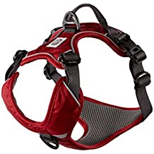 My Busy Dog Dog Harness by No Pull, Easy On/Off, Front and Back Leash Attachments, Handle, Metal Strap Adjuster to Keep Fit | Perfect for Small and Large Dogs | Size Chart in Pictures (XL, Red)