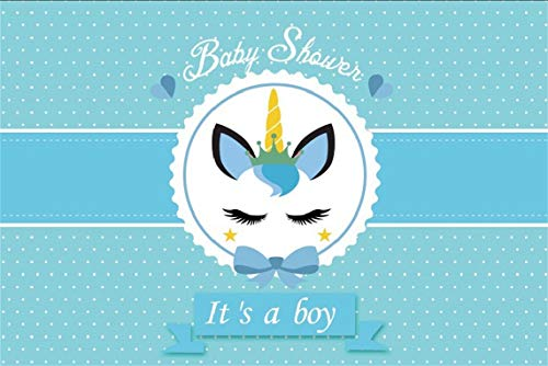 CSFOTO 5x3ft Background Unicorn Boy Baby Shower Photography Backdrop Gender Reveal Party It's A Boy Welcome Little Prince Blue Pregnant Baby Party Newborn Photo Studio Props Polyester Wallpaper -