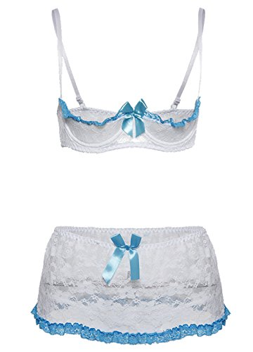 Lace Bra Garter Skirt - COSWE Women's Lace Open Cup Bra and Garter Skirt Set(White,M)