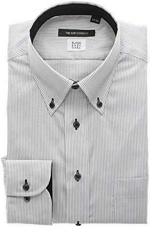(ザ・スーツカンパニー) COOL MAX/ボタンダウンカラードレスシャツ ストライプ 〔EC・BASIC〕 ミディアムグレー×ホワイト
