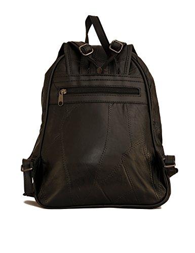 Damen Leder Tasche schwarz Cityrucksack Mini Rucksack Schultertasche Umhangtasche Handtasche kleiner Lederrucksack Stadtrucksack Nappaleder Glattleder schwarz