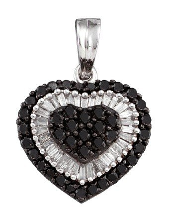 Dwt 1.09 or blanc 14 carats Diamant Pendentif Coeur-JewelryWeb