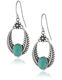Sterling Silver Oval Textured Simulated Turquoise Drop Earrings