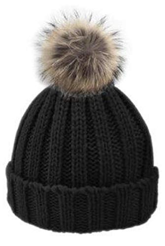 c12d3635a806c Thick Cable Knit Faux Fuzzy Fur Pom Fleece Lined Skull Cap Cuff ...