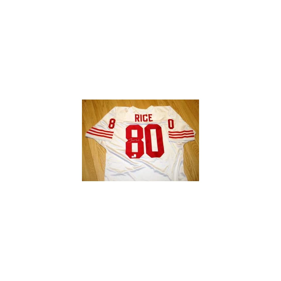 Signed Jerry Rice Football   (San Francisco 49ersWhite Jersey