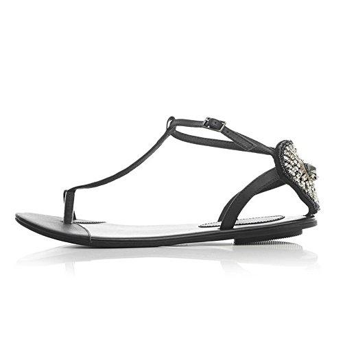 Amoonyfashion Kvinna Fast Mjukt Material No-häl Spänne Split Sandaletter Svarta