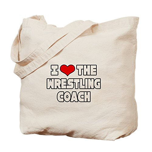 "CafePress - I Love The Wrestling Coach"" - Natural Canvas Tote Bag, Cloth Shopping Bag"