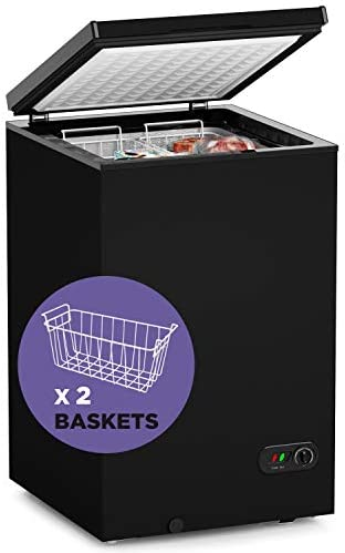 Northair Chest Freezer - 3.5 Cu Ft with 2 Removable Baskets - Reach In Freezer Chest - Quiet Compact Freezer - 7 Temperature Settings - Black