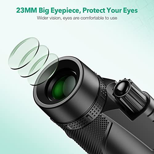FirstPower 12X50 HD Portable Monocular Telescope - Oversized Caliber Big View, Night Vision, BAK4 & FMC, Quick Focus, Light Weight for Adults & Child - Watching Bird Sport Concert Hunting Hiking