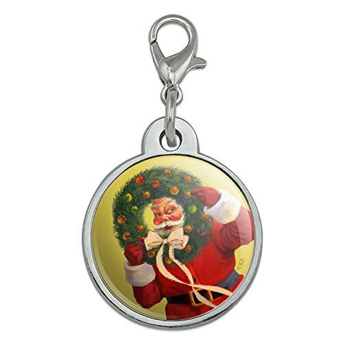 - GRAPHICS & MORE Christmas Holiday Santa Wreath Ribbon Swirl Chrome Plated Metal Pet Dog Cat ID Tag - Small