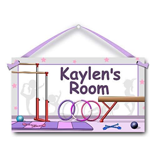 Personalised Kids Name Door Sign Gymnastics Equipment Girls Room