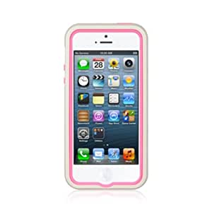 Dream Wireless High End iPhone 5/5s Standed Rubber Case - Retail Packaging - Hot Pink Skin/Whte