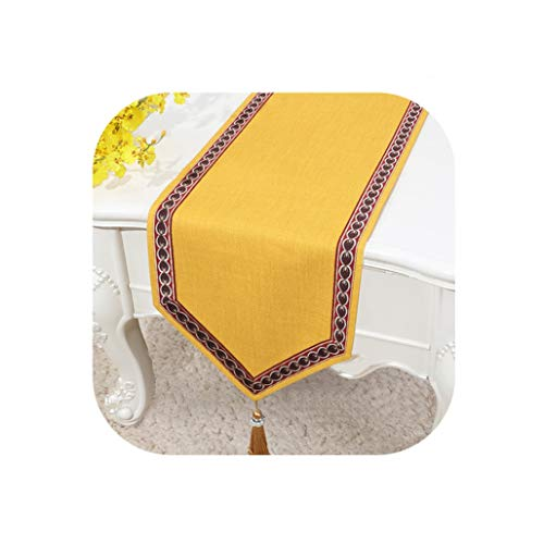 Wenzi-day Simple Linen Table Flag Bed Runner Tablecloth Tea Table TV Cabinet Cover Cloth Custom,33x300cm,011