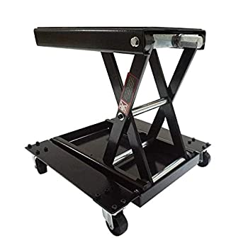 Image of Apextreme 1100 LB Motorcycle Lift Center Scissor Lift Jack with Dolly Wide Flat Hoist Stand Bikes ATVs Garage Repair Stand Scissor Lift Jacks