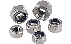 ZYAMY 195pcs Nylon Lock Nuts Assorted Kit Self Locking Hardware Accessories Metric Threaded Hex Head Nylon Insert Locknut M3 M4 M5 M6 M8 M10