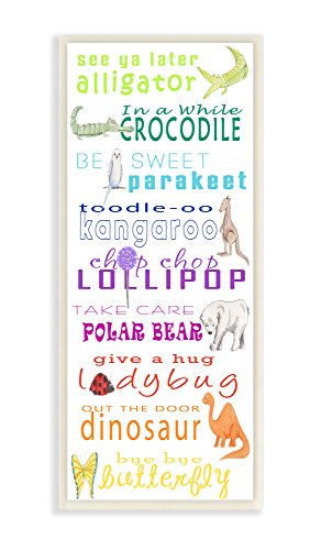 The Kids Room By Stupell See You Later Alligator Animal Goodbyes Wall Plaque Art, 7 x 0.5 x 17, Proudly Made in (Kid Art Alligator)