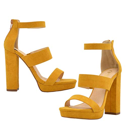 - Olivia and Jaymes Women's Strappy Triple Band Ankle Strap Chunky Platform High Block Heel Sandal for Wedding Party Office USA (8, Mustard)