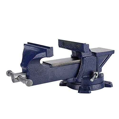 Bench Vise Heavy Duty Table Vise Locking Swivel Base Blue 360° 5 Inch with Anvil for Sculpting Soldering