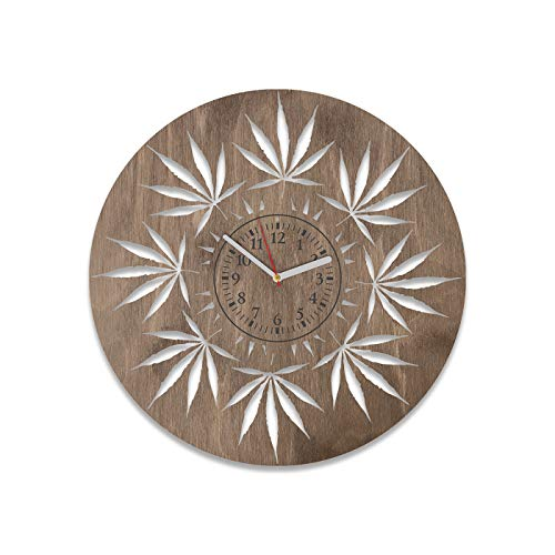 Minimalist Clock Cannabis Wooden Clock Birthday Gift For Men And Woman Cannabis Wall Clock 12 Inch Marijuana Decorations For Party Wooden Wall Clock Cannabis Home Decor Wall Art Hemp (Brown) (Marijuana Clock)