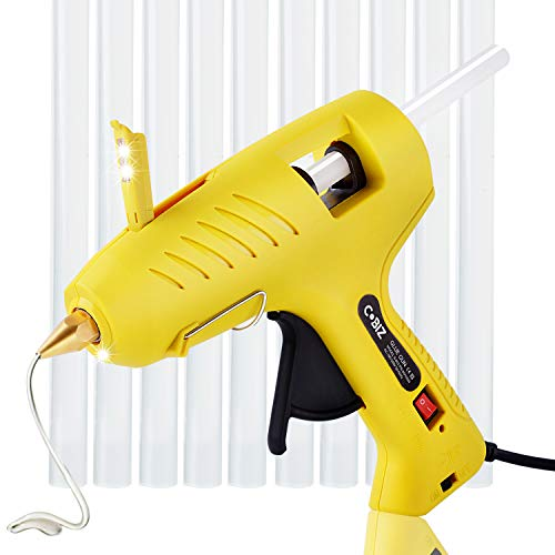 Hot Glue Gun with LED Lights,60/100W Full Size Dual Power High Temp Heavy Duty Melt Glue Gun Kit with 10 Pcs Premium Glue Sticks(0.43 x 8) for DIY, Arts & Crafts Use,Christmas Decoration/Gifts