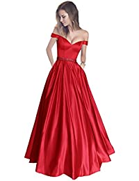 Off The Shoulder Beaded Satin Evening Prom Dress with Pocket
