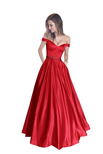 Harsuccting Shoulder Beaded Satin Evening Prom Dress With Pocket Red 6
