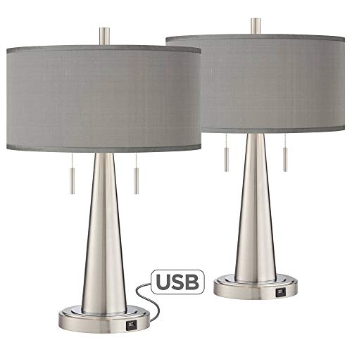 Gray Faux Silk Vicki Brushed Nickel USB Table Lamps Set of 2 - Possini Euro Design