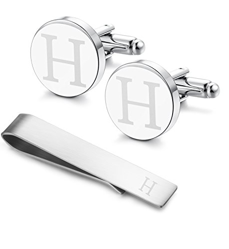 Mens Valet Personalized (LOYALLOOK Classic Engraved Initial Cufflinks and Tie Clip Bar Set Alphabet Letter Formal Business Wedding Shirts H)