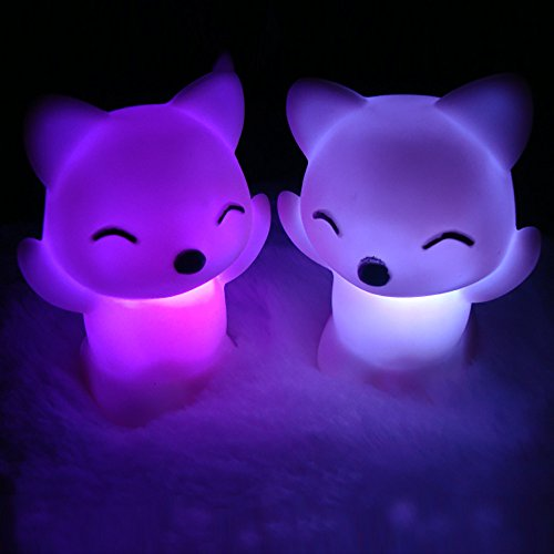 Gotian 7 Changing Colors Fox Shape Night Light LED Night Light Candle Lamp Nightlight Nice Children Kid Gift Home Party Decor from Gotian