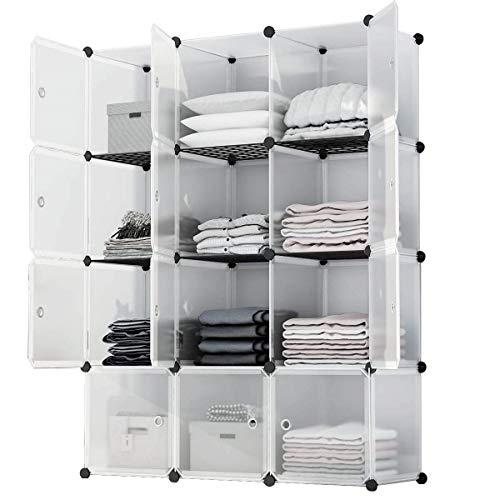 Anah Cube Storage 12-Cube Closet Organizer Storage Shelves Cubes Organizer DIY Plastic Closet Cabinet Modular Book Shelf Organizing Storage Shelving for Bedroom Living Room Office, White