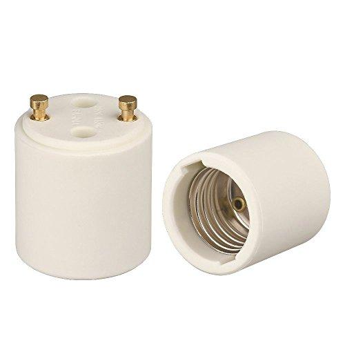 Onite 2pcs GU24 to E26 Adapter, High Temperature Resistant White Porcelain LED Halogen Socket Converter - GU24 to Medium Base Change US Standard Screw E26 Bulb to Fixture GU24 Pin Base Holder (Socket Gu24)
