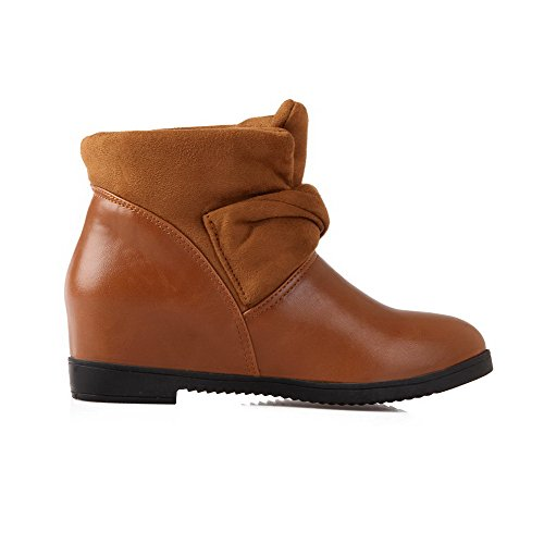 On AllhqFashion Pull Low Boots Solid Womens Kitten Material Brown Heels Top Soft 4w4frqxz