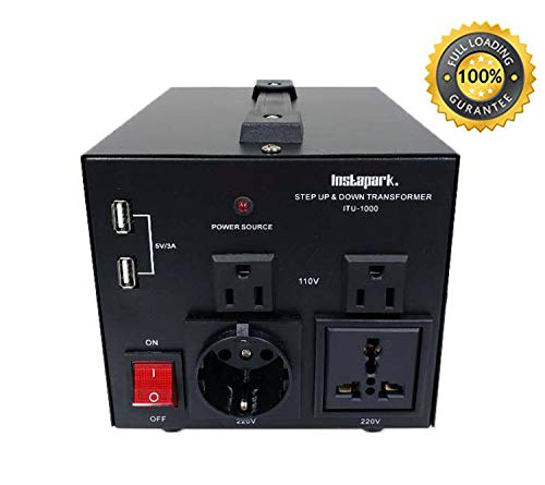- Instapark ITU-1000 Series Heavy-Duty AC 110/220V Step Up/Down Voltage Transformer/Converter with US Standard, Universal, German/French Schuko AC Outlets - 1,000 Watt