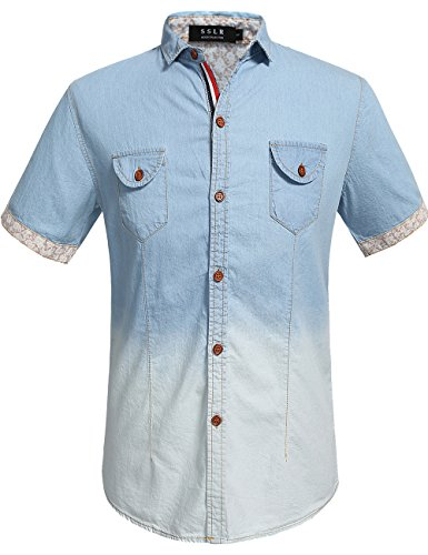 SSLR Men's Button Down Casual Short Sleeve Denim Shirt (Large, Blue 2)