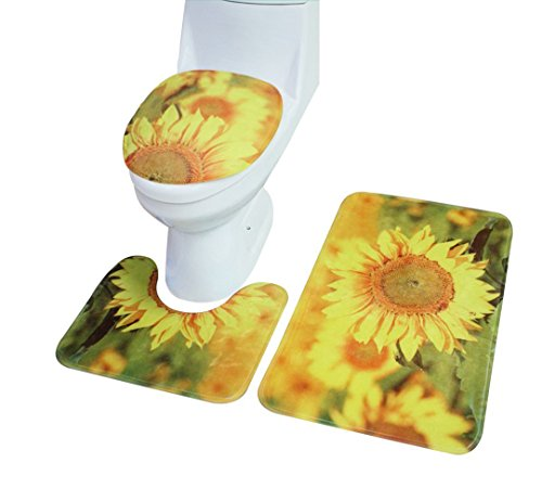 3 Picece Bathroom Mat Set ( Bathroom Carpet + Pedestal Rug + Toilet Seat Cover ) (Sunflower)