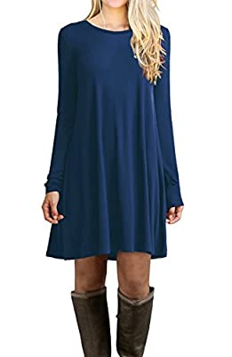 LILBETTER Women's Long Sleeve Casual Loose T-Shirt Dress