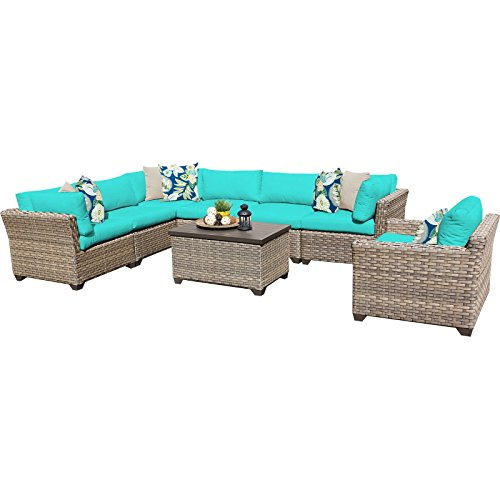 TK Classics 8 Piece Monterey Outdoor Wicker Patio Furniture Set, Aruba 08b For Sale