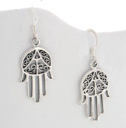Sterling Silver Hamsa or Hand of Fatima Earrings