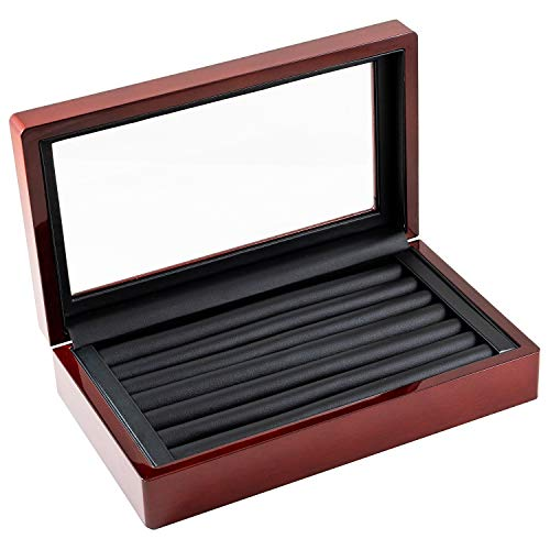 Caddy Bay Collection Glass Top Rosewood Glossy Finish Jewelry Ring Case Cuff Links Storage Box Case with Ring Rows