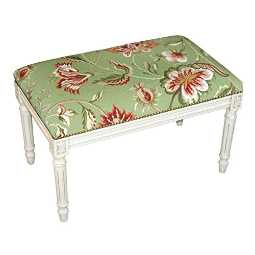 Jacobean Floral Needlepoint Bench Green Traditional Pattern Rubberwood Antique Nailheads