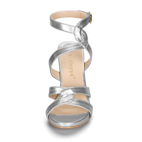 Strappy Heel Silver Sandals Allegra Women Stiletto Straps Slingback K Bwn14qxz