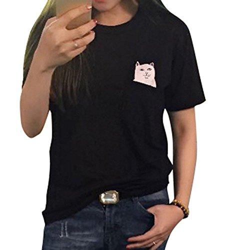 Doris Pocket Cat Women's T-Shirts with Hidden Surprise Middle (Finger Black T-shirt)