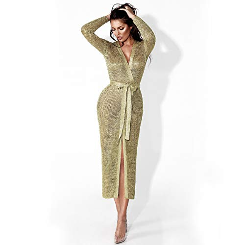 Con Oro Battercake Parkas Elegante Espumoso Prendas Exteriores Largos Cardigan Respirable Party Mujeres Outwear Mujer Otoño Hueco Hipster Casuales Cinturón UxYHnqwx1r