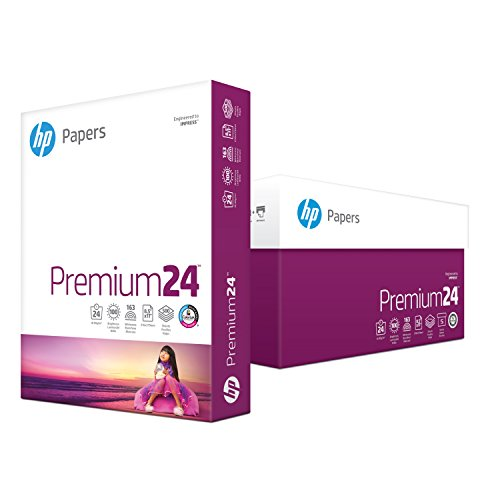Premium Laser Paper - HP Printer Paper, Premium24, 8.5 x 11, Letter, 24lb, 100 Bright, 2,500 Sheets/5 Ream Carton (115300C) Made in the USA