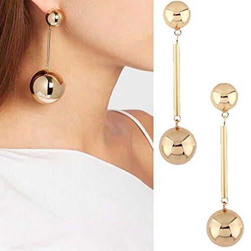 Elaco Fashion New Women Bling Ball Earrings Long Chain Drop Dangle Earrings Jewelry