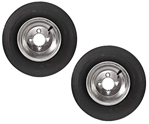 2-Pack Trailer Tire On Rim 4.80-8 480-8 8 4 Lug 6 Ply LRC Galvanized