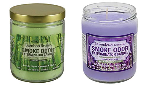 (Smoke Odor Exterminator 13 Oz Jar Candle, Bamboo Breeze 13 Oz Lavender Chamomile)