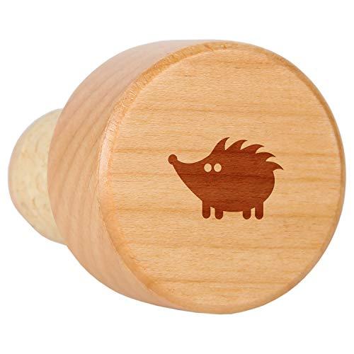 Hedgehog Maple Wood Wine Bottle Stopper With Cork - Laser Engraved Decorative Wine Bottle Stopper - Reusable Cork Stopper Gift
